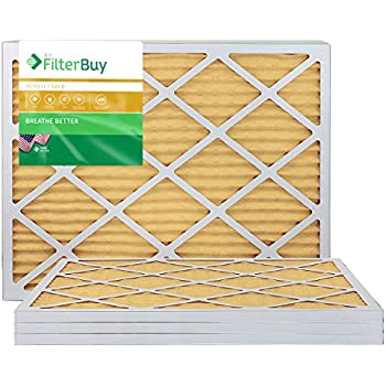 FilterBuy 14x30x1 MERV 11 Pleated AC Furnace Air Filter, (Pack of 4 Filters), 14x30x1 - Gold