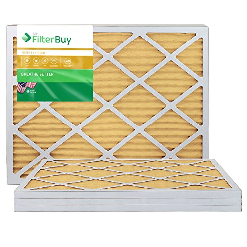 FilterBuy 20x25x1 MERV 11 Pleated AC Furnace Air Filter, (Pack of 4 Filters), 20x25x1 – Gold from FilterBuy