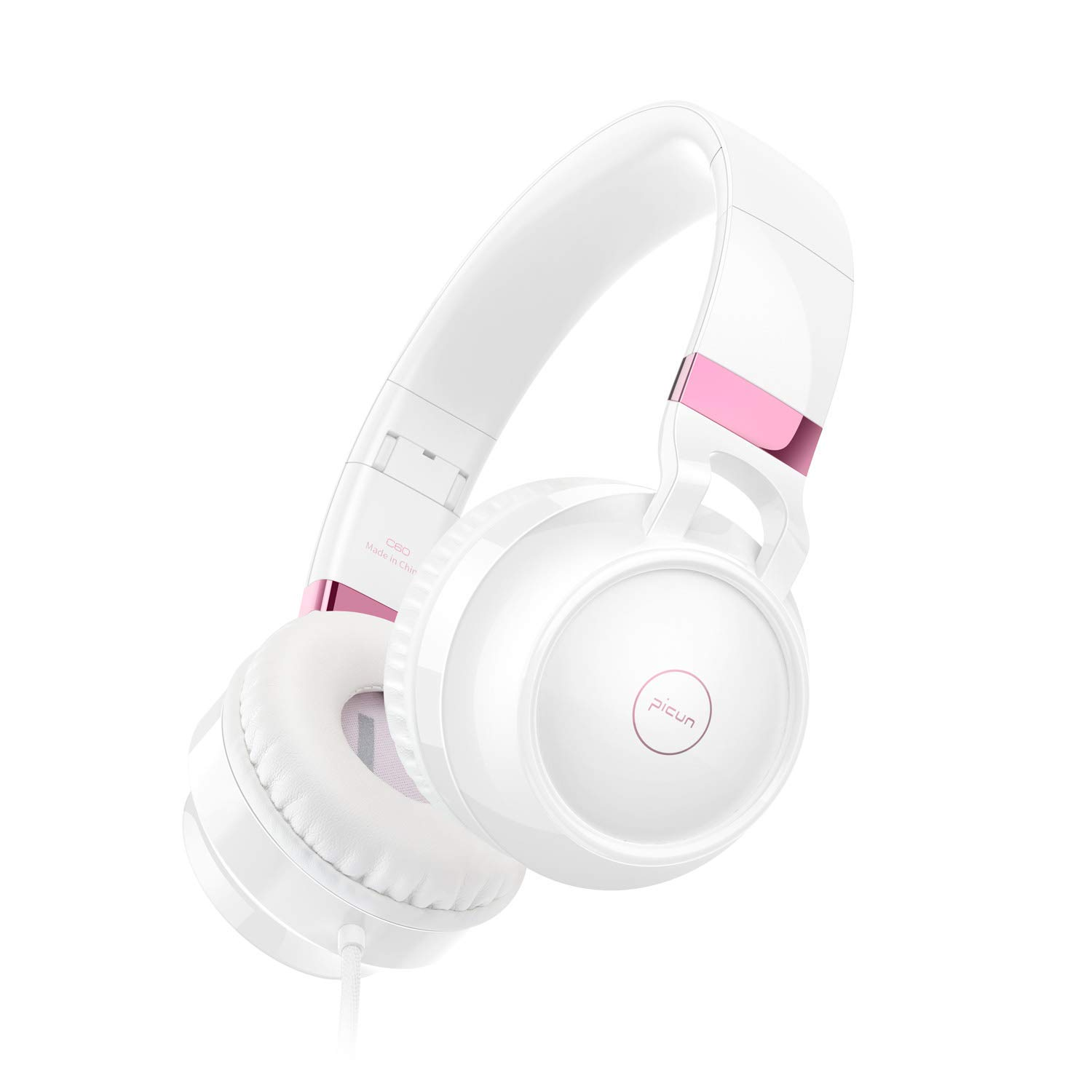 Noise Cancelling Headphones Over Ear, Picun C60 Stereo Headset for Women Girls, Earphones with Built-in Microphone Suitable for Cellphone Android Devices Laptop and Computer - White [並行輸入品]   B07S64HFYP