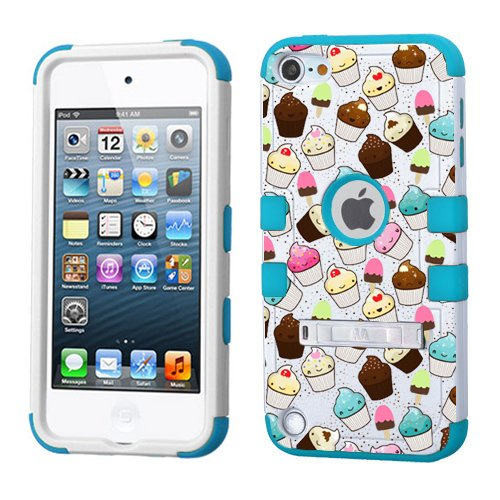 iPod touch 5th 6th Generation White Plastic / Blue Silicone 3-Piece Style Hybrid Hard Case Cover for Apple - For Girls And Boys - Shockproof Dustproof with Stand (Cupcakes) (Blue 5th Case Girl Gen Touch Ipod)