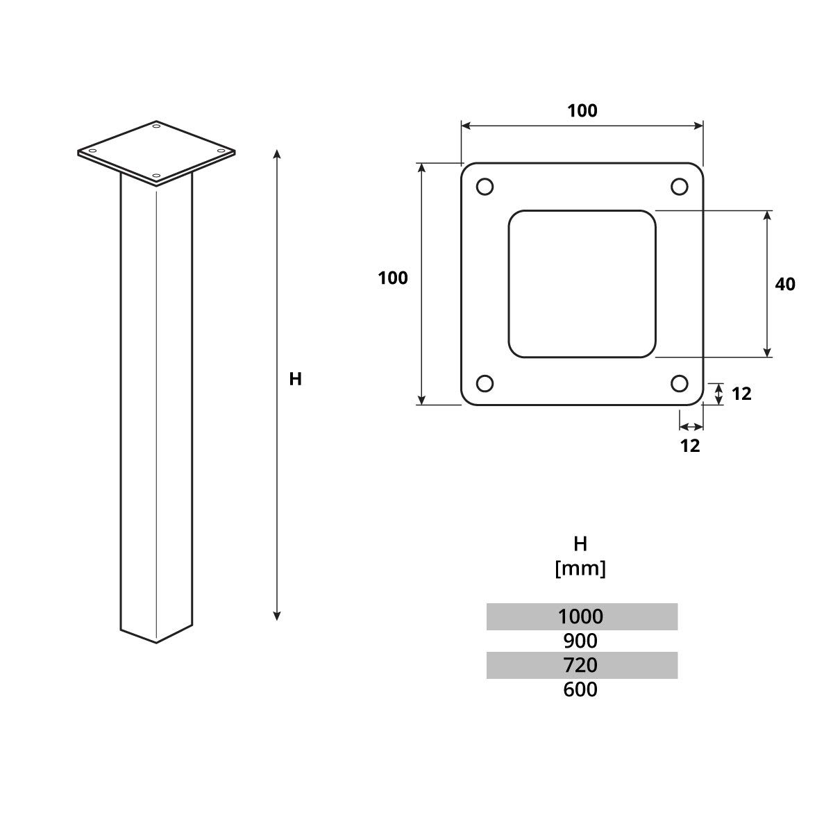 Perfil Cuadrado 80x80 mm 1 Piezas Negro Intenso HOLZBRINK Pata de la Mesa de Acero HLT-14A-J-100-9005 Altura: 100 cm