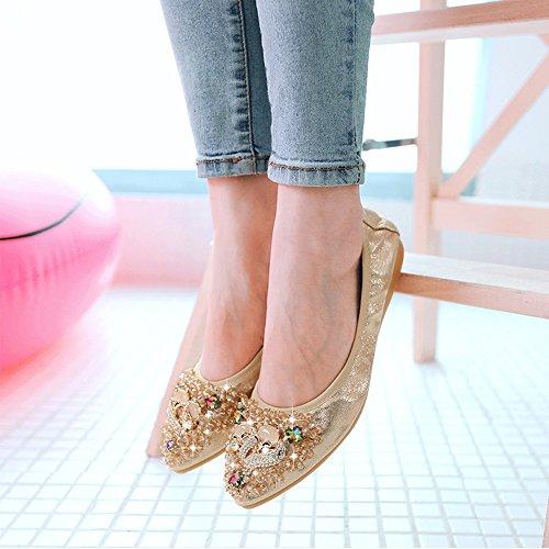 Womens Flats Shoes Pointed Foldable Meeshine Slip Flat Gold Comfort Ballet Rhinestone Toe On Uqfgxa4x