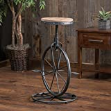 Cheap Christopher Knight Home 214107 Michaelo Bicycle Wheel Adjustable Barstool, Wood