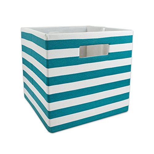 DII Hard Sided Collapsible Fabric Storage Container for Nursery, Offices, Home Organization, (13x13x13) - Stripe Teal by DII