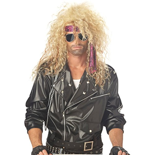 Super Rock Star Costume (80s Rocker Wig - Choose from 2 Styles - #1 80s Rock Star Costume Wig (Black/Blonde Slash) Blonde)