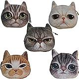 Cute Lifelike Cat Face Bag Zipper Case Coin Money Purse Wallet Bag Pouch Handbag