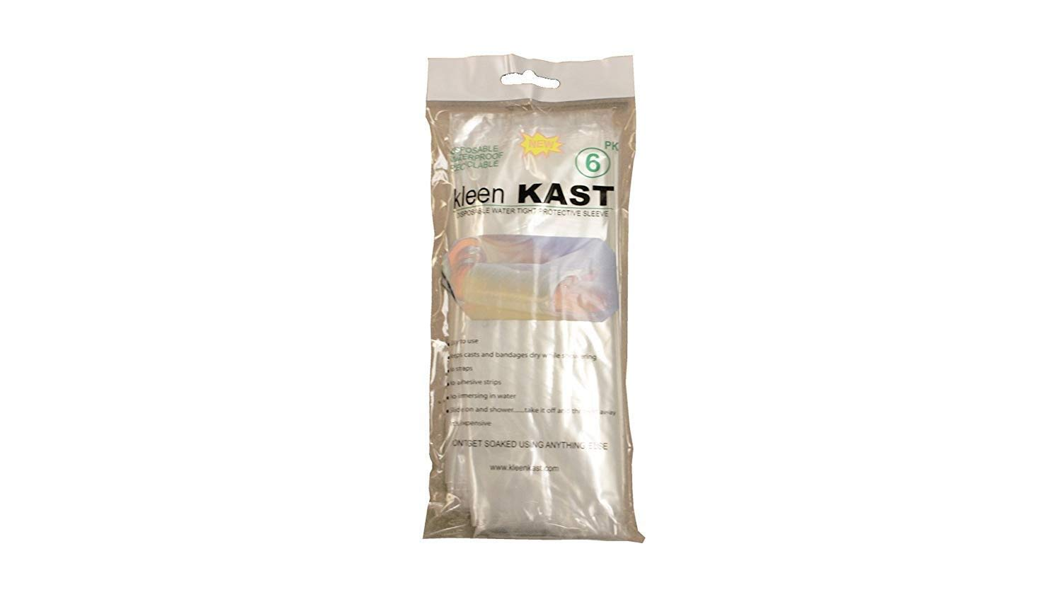 Assigned by Sterling Seal & Supply, (STCC) KleenKastx1.AZ.Toe Kleen Kast Protective Sleeves Specially Adapted for Orthopedic Casts and Splints for Use in The Shower, One Size, Clear (Six Protectors) by Assigned by Sterling Seal & Supply, (STCC)
