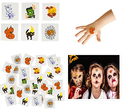Play Kreative Halloween Temporary Tattoos 144 Pack - Stick on Children Tattoos ()