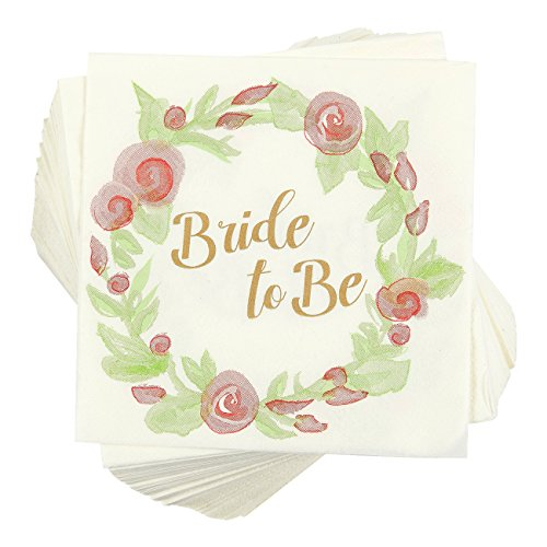100 Pack Cocktail Napkins - Bride to Be Floral Design, Disposable Paper Party Napkins, Perfect for Bachelorette Party Supplies and Bridal Shower Decorations, 5 x 5 Inches Folded, Pink and Green