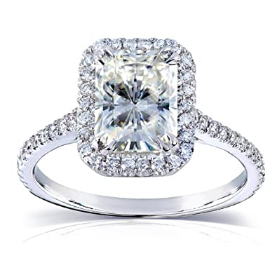 radiant cut moissanite engagement ring with diamond 2 ctw 14k white gold 8x6mm - Moissanite Wedding Rings