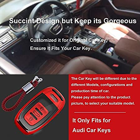 Cover Housse TPU Souple en Chrome pour T/él/écommande Keyless Audi A1 A2 A3 A4 A5 A7 Q1 Q3 Q5 TT Porte-cl/é Protection Bleu Coque en Silicone pour Cl/é Audi