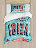 Lunarable Ibiza Twin Size Duvet Cover Set, Hello from Spain Quote on Stripe Background Tropical Holiday Islands, Decorative 2 Piece Bedding Set with 1 Pillow Sham, Pale Blue Dark Coral Yellow