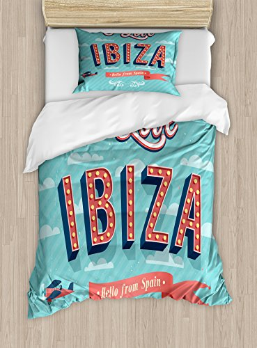 Lunarable Ibiza Twin Size Duvet Cover Set, Hello from Spain Quote on Stripe Background Tropical Holiday Islands, Decorative 2 Piece Bedding Set with 1 Pillow Sham, Pale Blue Dark Coral Yellow by Lunarable