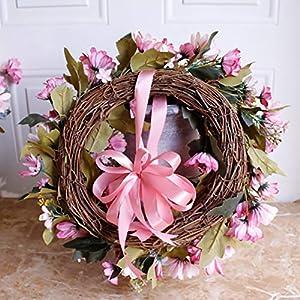 Shouyi Artificial Daisy Flower Wreaths Flowers Garland for Front Door Wall Home DIY Garden Office Wedding Decor 3