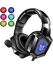 Gaming Headset with Mic for PS4 Xbox one PC PS5, Stereo RGB Gaming Headphones with Noise Cancelling Microphone, Wired Over Ear Gamer Headphones, Volume Control 3.5mm for Computer Switch Laptop