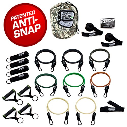 Bodylastics The Combat Ready Warrior Resistance Band Sets come with 6 or 8 Anti-Snap Exercise Tubes, Heavy Duty components and a small anywhere anchor (21 Pcs – 262 lbs, One Bag)