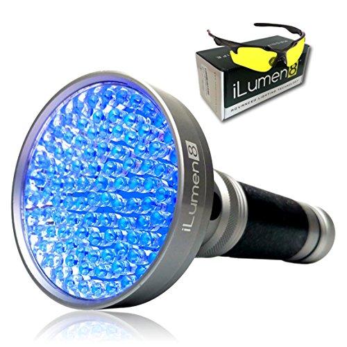 Bark Light One (Extra Bright- UV Black Light Flashlight by iLumen8-100 HIGH POWER LED's 385-395nm Powerful 35ft Beam Blacklight. Find Dog Cat Pet Urine, Household Hotel Stains, Scorpions. BONUS Safety Glasses)