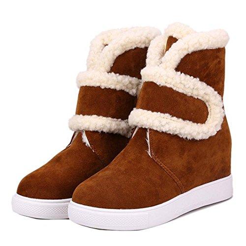 COOLCEPT Damen Mode Klettverschluss Knochel Plateau Winter Schneestiefel Light Brown