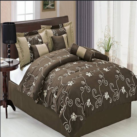 Covington Coffee Queen size Luxury 7 piece Comforter set includes Comforter, Skirt, Throw Pillows, Pillow, Shams by Royal Hotel