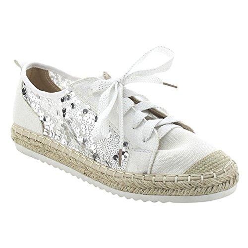Snj Kvinna Platt Snörning Glitter Mode Glittrande Sneaker Vit Glitter Snörning-2