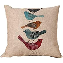 NicholasCGShopOnline G199F Cotton Linen comfortable pillowcase 2015 New Arrival Five Birds Pattern 18 x 18