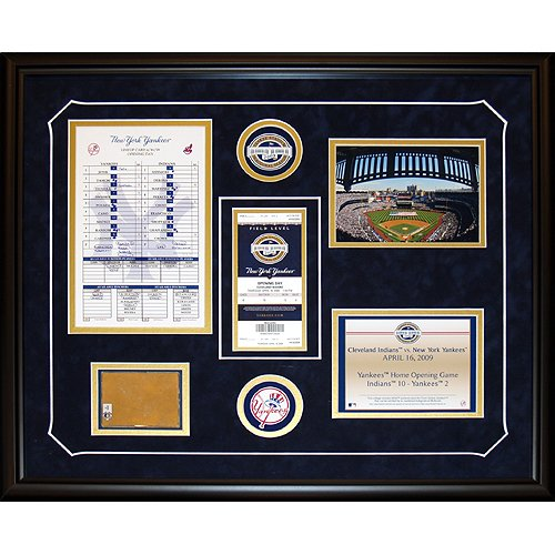 Steiner Sports MLB New York Yankees 2009 Opening Day Comm Ticket Collage with Authentic Dirt from Stadium Package - Yankee Photomint Stadium