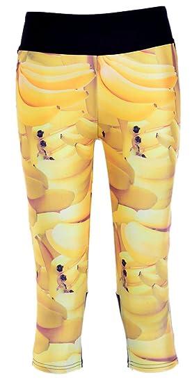 09456d9837 Sister Amy Women's 3D Pattern Print Workout Running Capri Pants Crop  Leggings Banana US XXS
