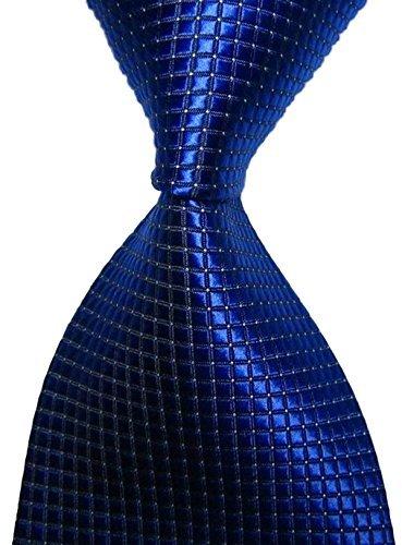 al Blue Checked Jacquard Woven Men's Tie Necktie (Checked Tie)