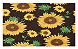 Lunarable Sunflower Doormat, Earth Tones Floral Buds Leaves Spring Nature Vintage Pattern, Decorative Polyester Floor Mat with Non-Skid Backing, 30 W X 18 L inches, Seal Brown Earth Yellow Green