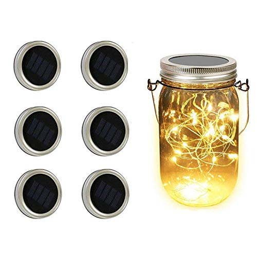 Solar Mason Jar Lid Lights, Aukora 6 Pack 20 Led Fairy Solar String Lights, Warm White Jar Lids Lights(Jars Not Included) for Patio Garden Xmas Decor Solar Laterns Table Lights