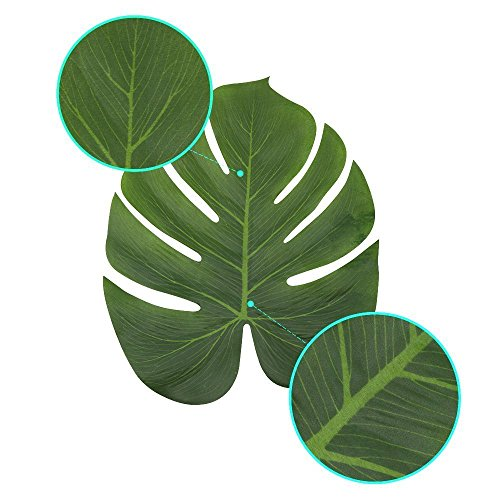 Artificial Monstera Leaves 48pcs-Large Tropical Leaves Decorations 14''x12'' Palm Tree Leaves for Luau Party Decor Jungle Party by PartyDelight (Image #6)