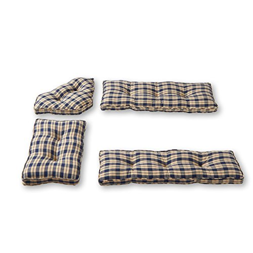 Greendale Home Fashions 4-Piece Nook Cushion Set, Applegate Plaid , Navy Blue (Cushions Nook)