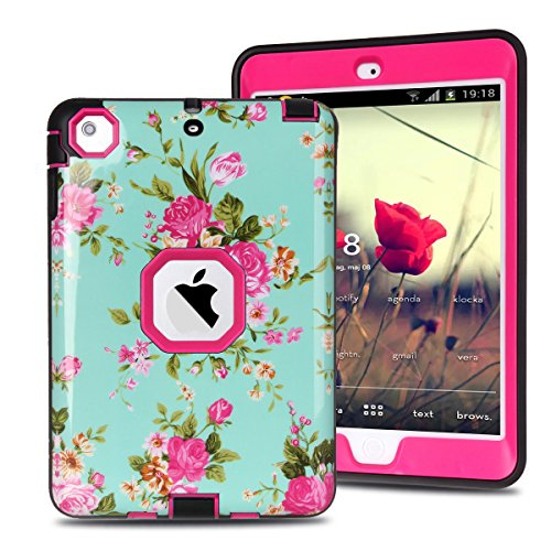 MAKEIT CASE iPad Mini Case, iPad Mini 2 3 Case, 3in 1 Heavy Duty Protection Combo Hybrid Impact Silicone Hard Case Cover for ipad Mini 1 2 3 (IMD-Flower Rose)