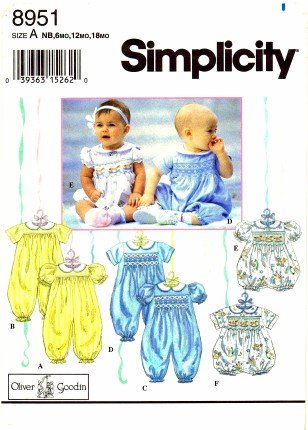 Amazon.com: Simplicity 8951 Sewing Pattern Oliver Goodin Babies ...