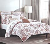 Nicole Miller Home FULL/QUEEN 3pcs Duvet Cover set 100% Cotton 400 Thread Count Jacobean Paisley Floral