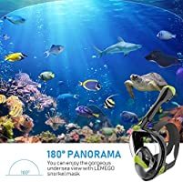 LEMEGO Full Face Snorkel Mask 2020 Upgrade,Advanced Safety Breathing System Allows You to Breathe More Fresh Air While Snorkeling,180 Panoramic Anti Fog Anti Leak