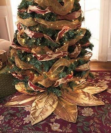 Gold Poinsettia Tree Skirt BW BRANDS