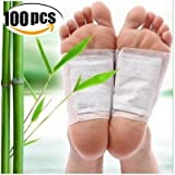100PCS Detox Foot Pads Patches Bamboo Vinegar Natural Ingredients Detoxify Toxins Body Cleanse Patches Wastes in Your Body Beauty Patches