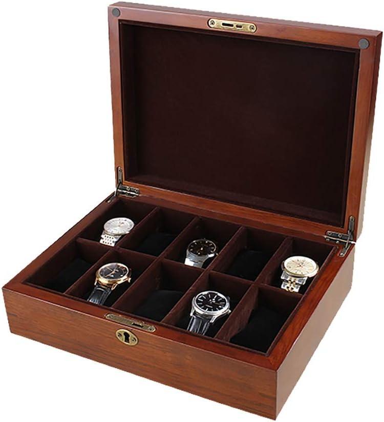 GJ-bsn Caja de Reloj de Madera, Expositor/Caja de Almacenamiento/Caja de Almacenamiento para Relojes de joyería, colección de Pulseras, Caja de 10 cuadrículas: Amazon.es: Hogar