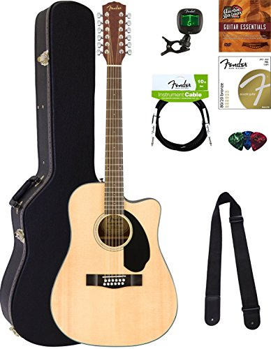 Fender CD-60SCE-12 Dreadnought Acoustic-Electric Guitar - 12 String, Natural Bundle with Hard Case, Cable, Tuner, Strap, Strings, Picks, Austin Bazaar Instructional DVD, and Polishing Cloth