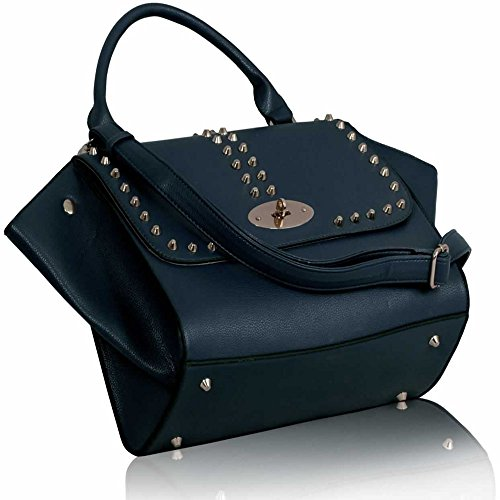 1 Size Sale Navy Designer Leather Faux Medium Womens New Design Ladies Bag In On Handbag Studded wIEnx1XZ6q