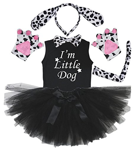 Petitebella Headband Bowtie Tail Gloves Shirt Skirt 6pc Girl Costume (Dalmatians Dog, 6-8 -