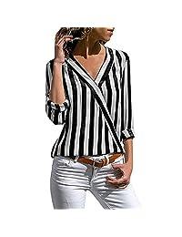 Aligmentpai Blusa de manga larga floja con cuello en V para mujer, de moda, blusa casual de otoño, Negro, L
