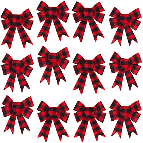Bows Christmas Trees - Iconikal 5-Loop Red Buffalo Plaid Flannel Bows 5 x 7-Inch, 12-Pack