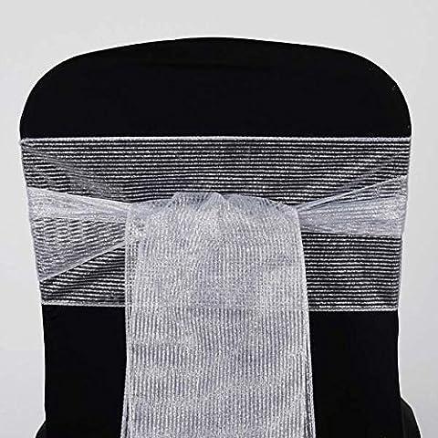 Tableclothsfactory 5pc x Razzle-Dazzle Glitter Pinstripe Organza Chair Sash - Silver (Razzle Dazzle Glitter)