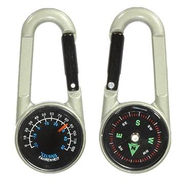 Dos caras de Metal Mini termómetro del compás Llavero ...