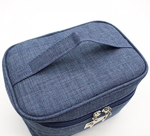 TePiLl Travel Toiletries Comestic Bag Case Portable Hanging Makeup Bathroom Brush Storage Pouch for Business, Camping, Vacation(Navy Blue) by TePiLl (Image #2)