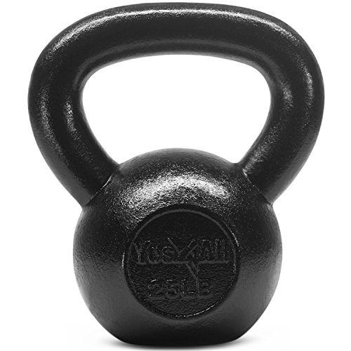 Yes4All Solid Cast Iron Kettlebell Weights Set – Great for Full Body Workout and Strength Training – Kettlebell 25 lbs (Black) by Yes4All (Image #7)