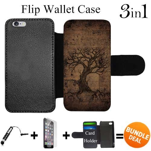 - Flip Wallet Case for iPhone 6/6S (Vintage Ancient Tree of Life) with Adjustable Stand and 3 Card Holders | Shock Protection | Lightweight | Includes HD Tempered Glass and Stylus Pen by Innosub