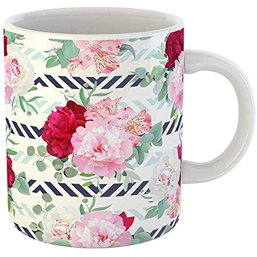 11 Ounces Coffee Tea Mug Gifts Funny Ceramic Striped Navy and Light Blue Floral Peony Alstroemeria Lily Mint Eucalyptus Pink Gifts For Family Friends Coworkers Boss Mug